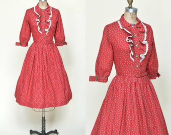 1950s Red Kerrybrooke Dress --- Vintage Full Skirt Dress