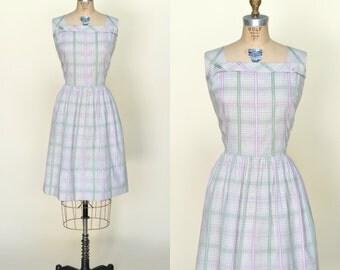 1950s Dress --- Vintage Plaid Day Dress Large