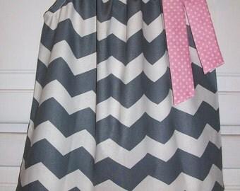 Pillowcase Dress Chevron Dress Grey and Pink Dress Birthday Dress Girls Dress Fall Dress Party dress baby dress toddler dress infant dress