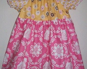 Girls Dresses Peasant Dress Short Sleeve Dress Daisy Cottage Riley Blake Pink and Yellow Spring Dresses Summer Dresses with Sleeves