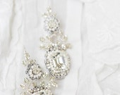 "Vintage-Inspired Crystal Bridal Earrings | Romantic Wedding Pearl & Lace Edwardian, Drop Earrings |  ""Victorine"""