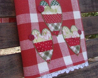 Country Sweet Hearts Tea Towel Quilters Pieced Valentine Vintage Lace Dish Towel Raw Edge Machine Applique Cute Picnic Red White Check Cute