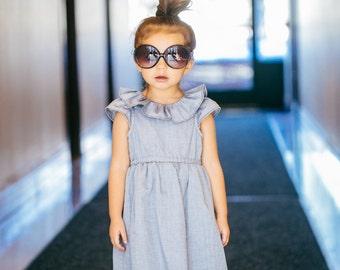 Gray Herringbone Cotton Dress for Toddler and Girl