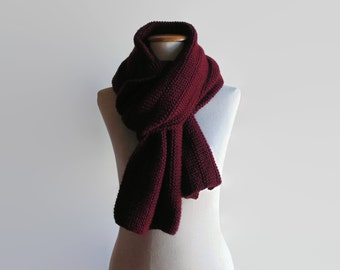 Burgundy Wool Shawl Scarf, Hand Knit Scarf, Long Scarf, Winter Wrap Scarf, Cute Huge Scarf, Mens Scarf, Womens Scarves, Blanket Wide Scarf