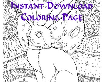 Instant Download Rabbit Hare Coloring Page