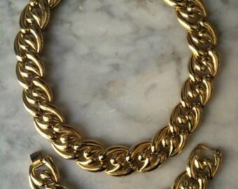 Vintage Gold Wash Chain Link Necklace & Bracelet Set