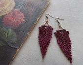 art deco lace earrings // HIPPOLYTA  / burgundy marsala lace earrings / boho earrings / gift for her / long earrings, new deco, lace jewelry