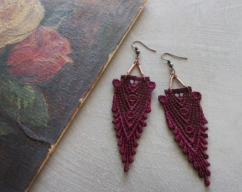 art deco lace earrings // HIPPOLYTA  / burgundy marsala lace earrings / boho earrings / gift for her / long earrings, new deco, lace jewelry