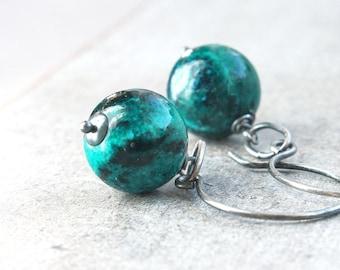 Malachite  Earrings  Oxidized Silver Gemstone Jewelry Sterling Silver Green  Malachite  Jewelry  Casual Stone Earrings  Handmade Accessories