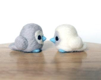 Needle Felted Love Birds White and Gray - Valentines Day Figures - Wedding Cake Topper - Made to Order - Felt Lovebirds Art - Felt Valentine