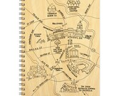 Athens, Georgia Map Birch Spiral Bound Journal Notebook
