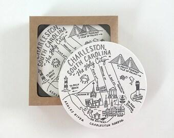 Letterpress Charleston, South Carolina Map Coasters
