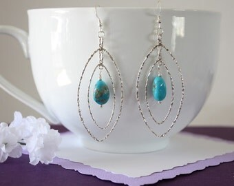 Turquoise Large Hoop Earrings Sterling Silver,  Double Silver Hoops, Dangle Earrings, Blue Turquoise