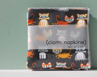 Cloth Lunch Box Napkins, Set of 6, Ed Emberley Fabric, 100% Organic Cotton