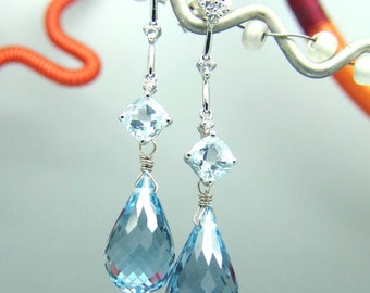 14k White Gold Aquamarine Blue Topaz Briolette Gemstone Chandelier  Bridal Wedding EarringsEarrings