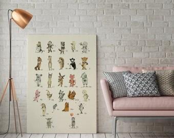 Canvas Art, wall art canvas, Animal ALPHABET POSTER - Print-English-Educational-Nursery wall decor-Animal print