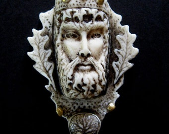 Greenman forest king celtic pendant or pin
