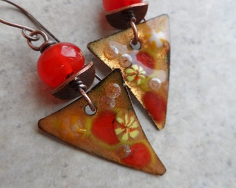 Geraniums ... Enameled Copper, Lampwork and Copper Wire-Wrapped Bright, Rustic, Boho, Woodland Earrings