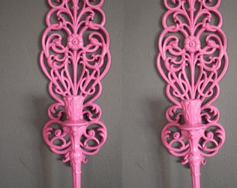 70s Pink Wall Sconces Baroque Pink Goth Quirky Retro Candle Holders 80s vintage bright funky 90s princess