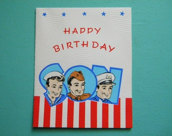 Vintage Unused Birthday Card WW2 Military Service Card for Son V for Victory