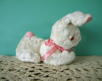 Vintage Pink and White Easter Bunny Plush Stuffed Rabbit with Red Eyes