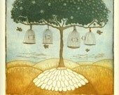 etching, Freedom Tree, birdcages,  birds, home interior, tree, landscape, daisy, blue, ochre, green, hills, soft colors, inspirational art