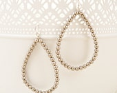 Champagne Swarovski Pearl Teardrop Hoop Earrings