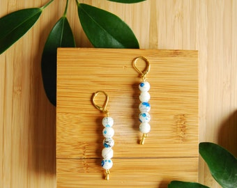 sashiko earrings / hand made /  gold and blue / japanese minimalist / beaded earrings / shoulder dusters