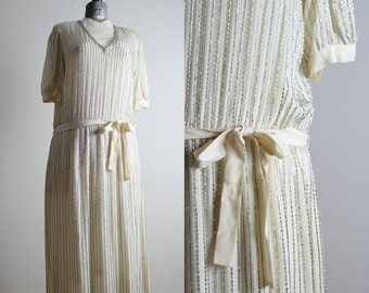 Deco Dress • 1920s Inspired Dress • Flapper Dress • Beaded Dress • Beaded Gown • Silk Dress • Art Deco Dress • Art Nouveau Dress • Argenti