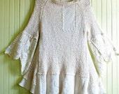 Feminine Silk Knit Tunic/ Romantic Lace Top/ Womens Bohemian Blouse Size  8 to 10 (Medium)