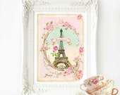 Eiffel Tower print, Eiffel Tower wall decor, Paris in spring, bonjour Paris, pink wall decor, French vintage home decor, pink, Paris, decor
