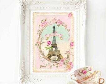 Eiffel Tower French art print, bonjour Paris, pink vintage home decor, A4 giclee
