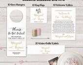Wedding Welcome Bag Kits, Wedding Hotel Bag Set, Do Not Disturb Sign, Water Bottle Labels, Welcome Letter, Favor Bag Tag, Calligraphy