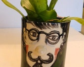 planter moustache funky ceramic pot succulent planter mans face teal green midnight blue