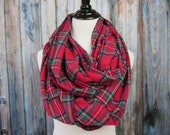 Tartan Plaid Scarf - Royal Stewart Plaid Scarf - Red Flannel Scarf - Red Plaid Scarf - Extra Long - Women's Scarf