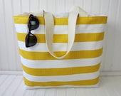Yellow Striped Beach Bag - Yellow Striped Beach Tote - Striped Beach Tote Bag