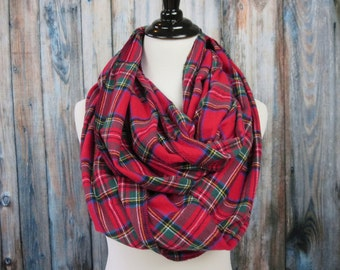 Plaid Infinity Scarf -Infinity Scarf-Red Plaid Scarf - Royal Stewart Tartan Plaid - Flannel Infinity Scarf - Womens Scarves