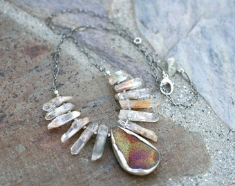 Titanium Druzy and Rutilated Quartz Dagger Sterling Silver Handmade Necklace