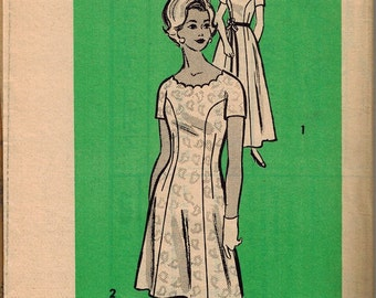 1960s Mail Order Mod Dress Sewing Pattern 9393 Size 14.5 Scalloped Neckline Formal Length