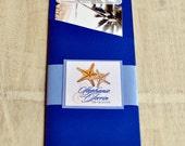 Boarding Pass Invitation or Save the Date Design Fee (Royal Blue Starfish & Palm Beach Design)