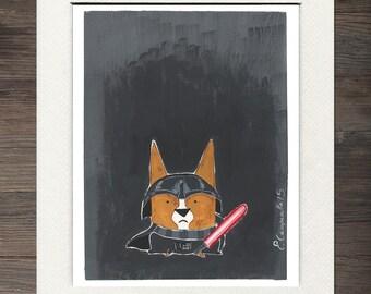 "Corgi ""Corg Vader"" Matted Art Print"