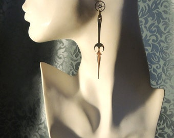 Steampunk brass-plated clock hand and gears pierced earrings