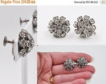 ON SALE Vintage Silver & Clear Rhinestone Cluster Earrings, 1950's Glam, Round, Domed, Screw Back, Wedding, Bridal, Prom, Superb! #a306