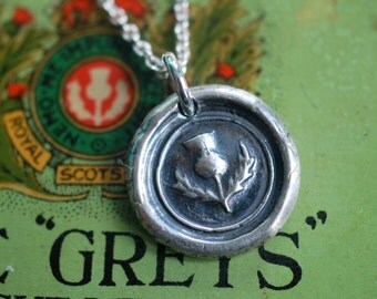 Scottish thistle wax seal necklace pendant - outlander jewelry - wax seal jewelry