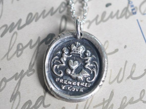 friendship pendant - heart in hand with cherubs wax seal necklace ... friendship, love, best friend gift - silver friendship keepsake