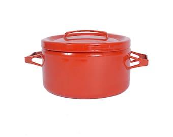 Vintage Finel Pot - 60s Finel Pot - Finel Arabia - 60s Enamelware - Stock Pot - Red Enamel - Enamel Pot - Danish Modern - Seppo Mallat