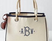 Monogrammed Rope Tote Bag Natural Canvas 4 Colors