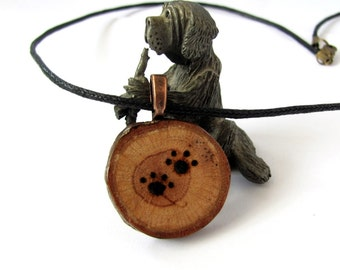 Paw Print Necklace Wooden Necklace Reclaimed Oak Branch Animal Eco Friendly Wooden Jewelry  by Hendywood