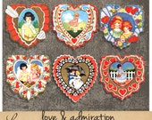 Love and Admiration oo4 | Vintage Childrens Valentine Heart Cards | Printable Collage Sheet