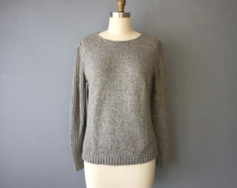 vintage 90s sweater / grey pullover minimalist sweater / side rib knit pattern S